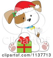 Cute Christmas Puppy With A Santa Hat And Present
