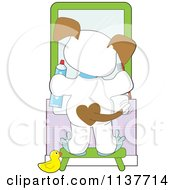 Cartoon Of A Cute Puppy Standing On A Stool And Brushing His Teeth Royalty Free Vector Clipart