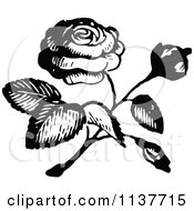 Clipart Of A Retro Vintage Black And White Rose 2 Royalty Free Vector Illustration by Prawny Vintage