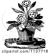 Clipart Of A Retro Vintage Black And White Potted Flowering Plant Royalty Free Vector Illustration