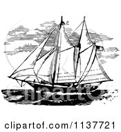 Clipart Of A Retro Vintage Black And White Ship With Sails 2 Royalty Free Vector Illustration