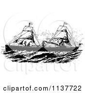 Clipart Of A Retro Vintage Black And White Ship With Sails 1 Royalty Free Vector Illustration