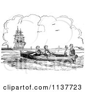 Clipart Of Retro Vintage Black And White Men In A Boat Near A Ship Royalty Free Vector Illustration by Prawny Vintage