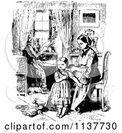 Clipart Of A Retro Vintage Black And White Mother Braiding Her Daughters Hair As Father Reads Royalty Free Vector Illustration