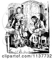 Clipart Of A Retro Vintage Black And White Grandfather Reading To Children Royalty Free Vector Illustration