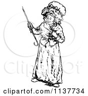 Clipart Of A Retro Vintage Black And White Old Woman With A Cane Royalty Free Vector Illustration