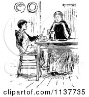 Clipart Of A Retro Vintage Black And White Mother And Son At A Table Royalty Free Vector Illustration by Prawny Vintage