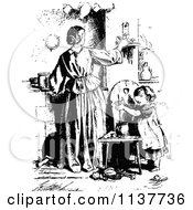Clipart Of A Retro Vintage Black And White Mother Adjusting A Candle And Daughter Royalty Free Vector Illustration