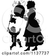 Clipart Of A Retro Vintage Silhouetted Son And Mother With Christmas Pudding Royalty Free Vector Illustration