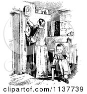Clipart Of A Retro Vintage Black And White Mother Adjusting A Clock And Daughter Royalty Free Vector Illustration