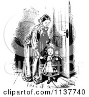 Clipart Of A Retro Vintage Black And White Mother And Daughter With A Doll Royalty Free Vector Illustration