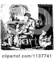 Clipart Of A Retro Vintage Black And White Mother And Children Washing Up Royalty Free Vector Illustration by Prawny Vintage