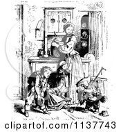Clipart Of A Retro Vintage Black And White Mother And Children In A Kitchen Royalty Free Vector Illustration by Prawny Vintage