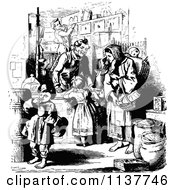 Clipart Of A Retro Vintage Black And White Mother And Children At A General Store Royalty Free Vector Illustration by Prawny Vintage