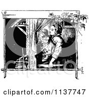 Clipart Of A Retro Vintage Black And White Mother And Daugher By A Window Royalty Free Vector Illustration