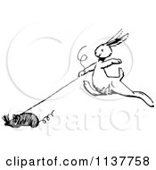 Clipart Of A Retro Vintage Black And White Bunny With A Toy Mouse Royalty Free Vector Illustration