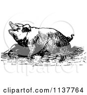 Clipart Of A Retro Vintage Black And White Pig Soaking In Mud Royalty Free Vector Illustration by Prawny Vintage