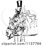 Clipart Of A Retro Vintage Black And White Posh Horse Royalty Free Vector Illustration by Prawny Vintage