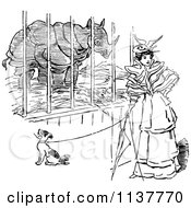 Clipart Of A Retro Vintage Black And White Woman And Dog By A Rhino Cage Royalty Free Vector Illustration
