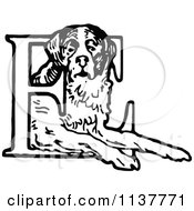 Clipart Of A Retro Vintage Black And White St Bernard Dog And Letter E Royalty Free Vector Illustration