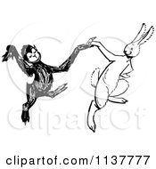 Clipart Of A Retro Vintage Black And White Monkey And Rabbit Dancing Royalty Free Vector Illustration by Prawny Vintage