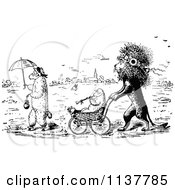Clipart Of A Retro Vintage Black And White Lion Pushing A Lamb In A Stroller Royalty Free Vector Illustration by Prawny Vintage