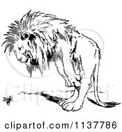Clipart Of A Retro Vintage Black And White Lion Standing Over An Ant Royalty Free Vector Illustration by Prawny Vintage
