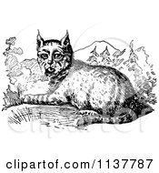 Clipart Of A Retro Vintage Black And White Resting Bobcat Royalty Free Vector Illustration by Prawny Vintage