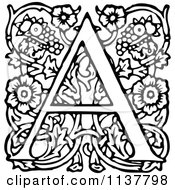 Retro Vintage Black And White Ornate Letter A