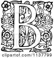 Retro Vintage Black And White Ornate Letter B