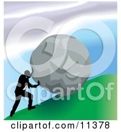 Strong Business Man Pushing A Boulder Up A Hill Clipart Illustration