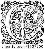 Retro Vintage Black And White Ornate Letter C
