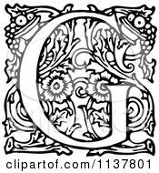 Retro Vintage Black And White Ornate Letter G
