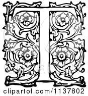 Retro Vintage Black And White Ornate Letter T