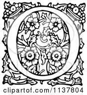 Clipart Of A Retro Vintage Black And White Ornate Letter O 2 Royalty Free Vector Illustration