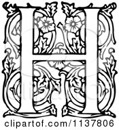 Clipart Of A Retro Vintage Black And White Ornate Letter H Royalty Free Vector Illustration