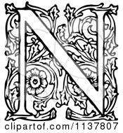Retro Vintage Black And White Ornate Letter N