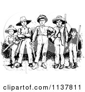 Clipart Of Retro Vintage Black And White Rugged Boys Royalty Free Vector Illustration