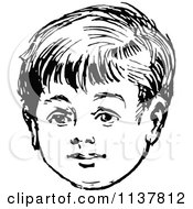 Clipart Of A Retro Vintage Black And White Boys Face Royalty Free Vector Illustration