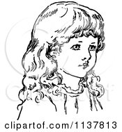 Clipart Of A Retro Vintage Black And White Girls Face 1 Royalty Free Vector Illustration