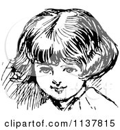 Clipart Of A Retro Vintage Black And White Girls Face 3 Royalty Free Vector Illustration