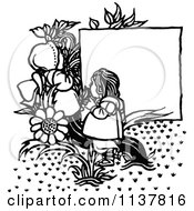 Retro Vintage Black And White Flowers And Girls By A Sign