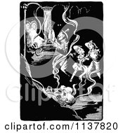 Clipart Of A Retro Vintage Black And White Dragon And People Royalty Free Vector Illustration by Prawny Vintage