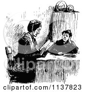 Clipart Of A Retro Vintage Black And White Woman And Boy Reading Royalty Free Vector Illustration