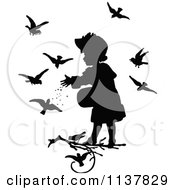 Clipart Of A Retro Vintage Silhouetted Girl Feeding Birds Royalty Free Vector Illustration