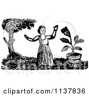 Clipart Of A Retro Vintage Black And White Lady Waving In A Garden Royalty Free Vector Illustration by Prawny Vintage