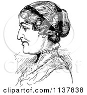 Clipart Of A Retro Vintage Black And White Lady In Profile Royalty Free Vector Illustration