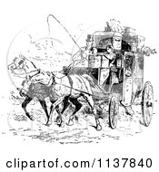 Clipart Of A Retro Vintage Black And White Moving Couple And Horse Drawn Carriage Royalty Free Vector Illustration by Prawny Vintage