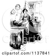 Clipart Of A Retro Vintage Black And White Lady In A Kitchen Royalty Free Vector Illustration by Prawny Vintage
