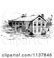 Clipart Of A Retro Vintage Black And White Rustic Building Royalty Free Vector Illustration by Prawny Vintage